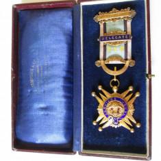 Raritate! Medalie Masonica din Argint 925 placata aur-Pentru serviciile aduse-