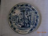 Farfurie decor, portelan Delft,marcaj Royal Goedewaagen,diam.24cm