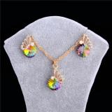 Set auriu suberb: Lant dublu + cercei, tip cristale SWAROVSKI + saculet cadou