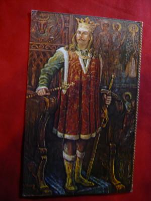 Ilustrata - Personalitati - Stefan cel Mare -Pictura in ulei Costin Petrescu '60 foto