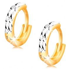 Cercei din aur 14K - cercuri cu crestături strălucitoare și aur alb - Cercei aur