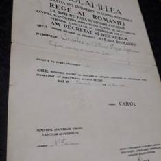 Brevet Ordinul Steaua Romaniei , model 2 pt civil , 1936 , tipar deosebit. Rar !