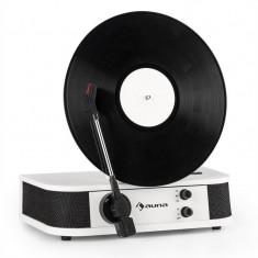 AUNA VERTICALO S, gramofon retro, placă verticală, usb, alb
