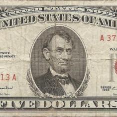 Statele Unite (SUA) 5 Dolari 1963 - Red seal - 37647813, P-383 - bancnota america