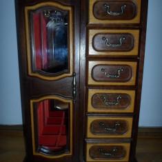 Dulapior lemn pentru bijuterii retro-romantic, vintage - Cutie Bijuterii