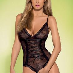 Body sexy cu decupaj inghinal Slevika Obsessive - Body dama, Marime: S/M, Culoare: Negru