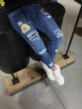 Blugi barbati model  slim fit cu stickere, 30, 32, Albastru, Lungi