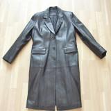 Haina, palton, pardesiu, piele, negru, femei, CA NOU ! - Palton dama, Marime: Masura unica