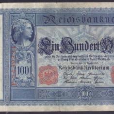 Bancnota Germania 100 Marci 1910 - P42 VF - bancnota europa