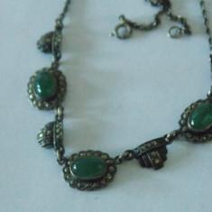 Colier argint cu marcasite si cu agate verzi -2459