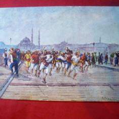 Ilustrata Constantinopole -Pompieri Voluntari alergand sa stinga focul inc.secXX, Necirculata, Printata