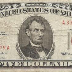 Statele Unite (SUA) 5 Dolari 1963 - Red seal - 33499979, P-383 - bancnota america