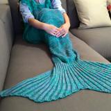 Patura in forma de sirena pentru copii pana la 2 ani, verde cu albastru