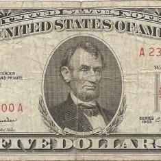 Statele Unite (SUA) 5 Dolari 1963 - Red seal - 23868200, P-383 - bancnota america