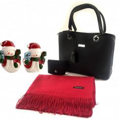 Geanta Lady Black Personalizabila & Portofel si Esarfa Casmir + Decoratiuni de Craciun din Ceramica - Geanta Dama