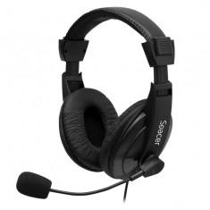 Casti cu microfon SPACER SPK-222, black - Casca PC
