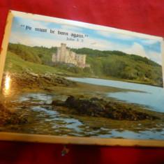Tablou mic-Suvenir- Castel la malul Marii si Citat din Biblie -Edinburgh Scotia