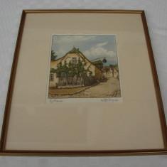 Impresionanta grafica color semnata indescifrabil - mana de artist - Tablou autor neidentificat, Peisaje, Pastel, Realism