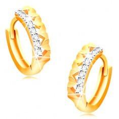Cercei din aur 14K - cercuri cu inimioare și linie de zirconii transparente - Cercei aur
