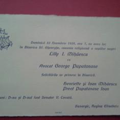 Invitatie nunta oras Bazargic editata de Socec