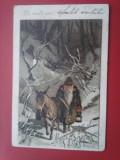 Carte postala ilustrator Alfred Mailick: Peisaj de iarna, Batran si magarus 1902, Circulata, Fotografie