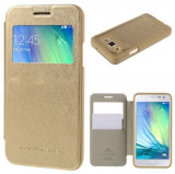 Husa Gold Samsung Galaxy J5 2015 J500 S-View aurie, Auriu, Piele Ecologica, Mercury