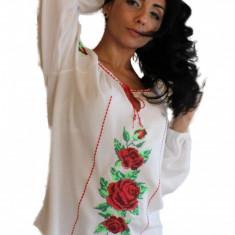 Bluza dama tip ie, brodata cu motive traditionale IE03A, Marime: S/M, L/XL, Culoare: Alb, Maneca lunga, Voal