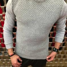 Pulover barbati Gri deschis cu Tricotat Guler La Baza gatului SlimFit casual
