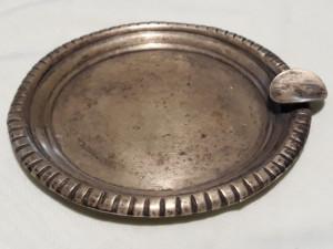 Scrumiera argint Mexic VECHE executata manual PATINA FRUMOASA