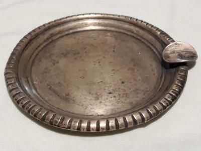 Scrumiera argint Mexic VECHE executata manual PATINA FRUMOASA foto