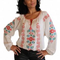 Bluza dama tip ie, brodata cu motive traditionale IE07A, Marime: S/M, L/XL, Culoare: Alb, Maneca lunga, Voal