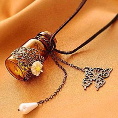 COLIER din lant de piele si PANDANTIV STICLUTA sticla mesaj dragoste IDEE CADOU - Pandantiv fashion