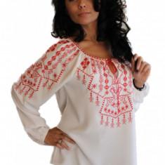 Bluza Dama Tip Ie Traditionala Romanesca, IE06A, Marime: S/M, L/XL, Culoare: Alb, Maneca lunga, Voal