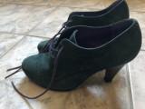 Ghete de dama,din piele,intoarsa,Cortzs Shoes,numarul 37, Verde, Piele intoarsa
