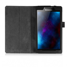 Husa Premium piele pentru tableta Lenovo Tab 2 A7-20, 7 inch, Black - Husa Tableta