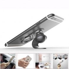 Suport magnetic auto pentru telefon mobil KG-silver, cu inel de prindere pe deget - Inel telefon
