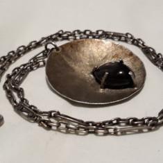 Medalion argint cu Piatra Semipretioasa VECHI splendid RAR pe Lant VECHI argint
