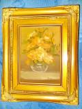 Tablou Simon natura statica Vaza trandafiri galbeni rama aurie lemn., Ulei, Realism