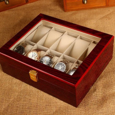 Caseta / Cutie ceas uri din Lemn cu 10 compartimente Calitate Premium NOU