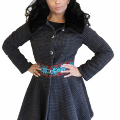Palton dama din stofa lana cu guler blana detasabil P01, Marime: L, M, S, Culoare: Gri