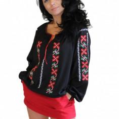 Bluza dama tip ie, brodata cu motive traditionale IE02N, Marime: S/M, L/XL, Culoare: Negru, Maneca lunga, Voal