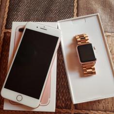 IPhone 7 Plus 128 GB rose gold si IWatch 38mm rose gold - Telefon iPhone Apple, Roz, Neblocat