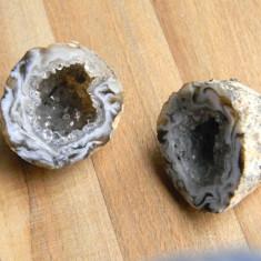 Mini geode agat (pereche) - Fosila roca, Naturala, Agata