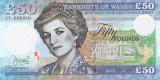 Bancnota Tara Galilor 50 Pounds 2017 - SPECIMEN ( polimer - Printesa Diana )
