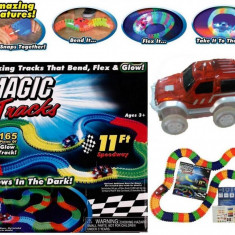 Set Circuit cu Masinuta iluminata plus pista traseu sine165 piese Magic Tracks, Electrice, Plastic, Unisex