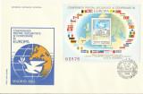 Romania 1983  - FDC colita nedantelata CSCE Madrid - LP 1086 - rar, Stampilat