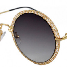 Ochelari de soare Rotunzi Negru Degrade Dantela - Auriu