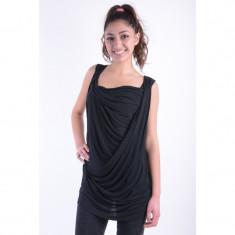 Bluza Vascoza Fara Maneci Vero Moda Drapy Negru - Bluza dama Vero Moda, Marime: M