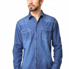 Camasa barbateasca din denim bleu - stearsa - Camasa barbati, Marime: S