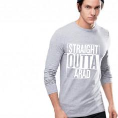 Bluza barbati gri cu text alb - Straight Outta 13 Septembrie, Marime: S, M, L, XL